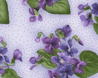 Purple Violets - Arabella - Cotton Fabric - Maywood Studio - FL-15