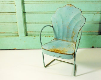 Vintage Aqua Blue Miniature Metal Lawn Chair with Scalloped Back