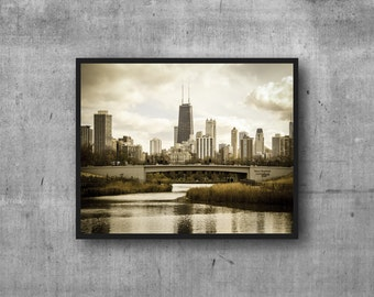 Chicago skyline print - Nature Boardwalk view photography art print