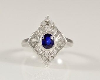 Handmade, Antique, 18k, Gold, White Gold, Midnight Blue, Natural, Sapphire, Diamond, Estate, Ring