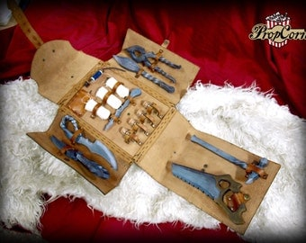 Medieval leather doctor kit with full set of foam tools LARP safe for medics, healers or even fake torture