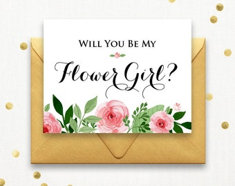 Printable Will You Be My Flower Girl Card, Ask Bridesmaid, Maid of Honor, Matron of Honor, Proposal Floral Wedding Card, Rustic Wedding.
