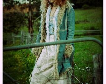 Bone silver vintage velvet skirt