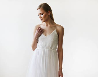 Ivory Bridal Sequin and Tulle Maxi Gown 1120