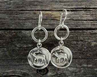 Handmade Sterling Silver Elk Totem Earrings