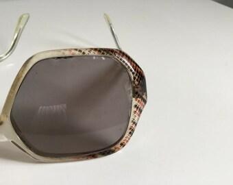 70s Sunglasses, Large Frame Eyewear, Oversized Sunglasses, Snakeskin Pattern, Neophan Glass, Vintage Sunglasses,