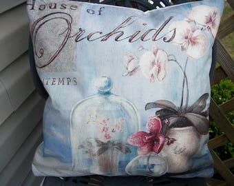 Orchids Pillow Cover, 18 x 18,  Cloche Orchids Design Home Decor Soft Blue