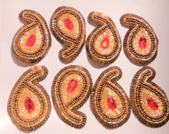 Copper Colored Paisley patch Sew on Applique - One Pair- Embellishments-  made with beads, sequins