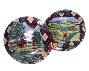 Vintage Look Golf Plates - Golf Decor, Golf Themed Plates, Vintage Golf Themed Plates, Golf Themed Desset or Salad Plates, Retro Golf Plates