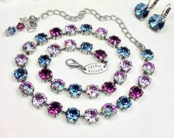 Amethyst & Denim Dream Swarovski Crystal 8.5mm Necklace - Designer Inspired -  Sophistication++ - FREE SHIPPING