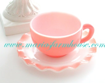 Mid Century, Anchor Hocking, Milk Glass, Crinoline Pie Crust Ruffle Edge, Coral Tea Cup and Saucer, Replacement China