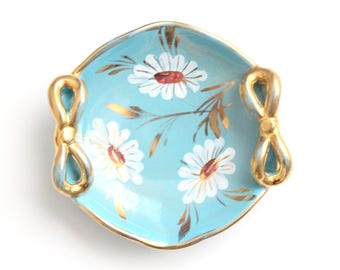 Vintage, Aqua/Turquoise Retro Handpainted Candy Dish with Bow Handles, Hollywood Regency, Gifts for Her, Made in Italy