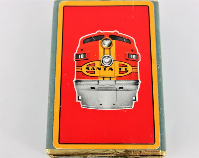 Vintage 1950s Congress Cel-U-Tone Finish Playing Cards Featuring Santa Fe Railroad Engine in Blue Flocked Box