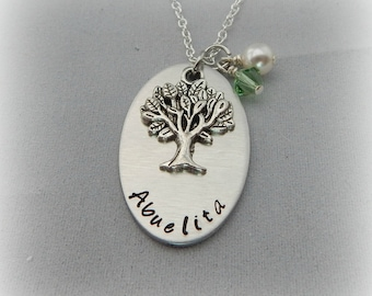 Abuelita Necklace - Gift for Abuelita - Hand Stamped Custom Family Tree Necklace with Birthstones - Grandmother Jewelry - Mother's Day - kg3