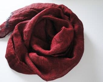 Red linen scarf, linen scarve, linen spring accessory, dark natural scarf