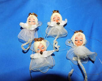Vintage 50's Christmas Tree Ornaments Set Of 4 Angels w/Net Wings & Gown Tinsel Gold Crown Vintage Ornaments Free Shipping