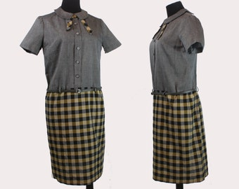 Betty Barclay Mod Vintage Belted Short-Sleeved Shirt Dress~Peter Pan Collar~Tie~Gray & Mustard Yellow Plaid~Size 11~60s~100% Cotton