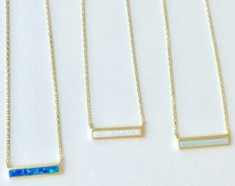 Tiny Opal Bar Necklace // Layering Necklace // Horizontal Bar Necklace