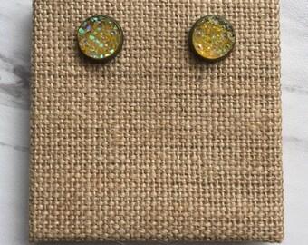 Yellow Druzy Stud Earrings
