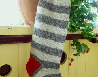 Knit Christmas Stocking Striped stockings  Dark Grey Green Cream Red Cristmas decoration Christmas gift