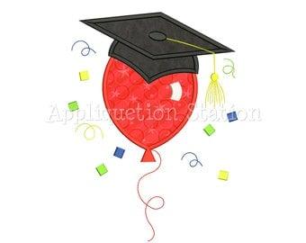 Graduation Balloon with Cap Applique Machine Embroidery Design Grad Graduate INSTANT DOWNLOAD