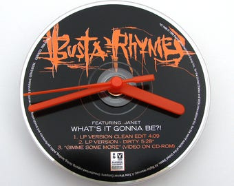 BUSTA RHYMES CD Clock, Whats It Gonna Be, Made from an recycled cd, Fun gift, for men, women, co worker, friend, black and orange