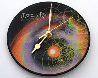 "MERCURY REV Vinyl Record CLOCK made from recycled 7"" picture Disc. Across Yer Ocean, Fun gift for fans 90s 00s rock, swirls, multi coloured"