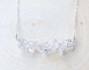Clear Quartz Necklace, 925 Silver Necklace, Quartz Necklace, Bar Necklace, April Birthday