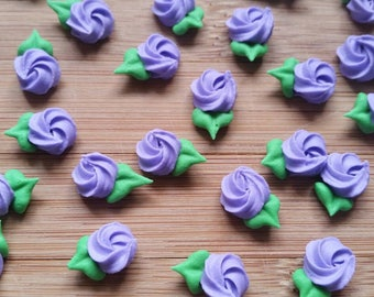 Mini purple royal icing rosettes -- Edible cake decorations cupcake toppers (24 pieces)