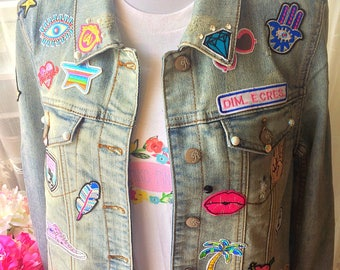 Jeans Jacket With Patches, Fashion Jeans Jacket