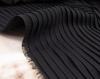 black chiffon accordion pleated fabric for pleated dress, accordion pleats fabric by the yard, accordion chiffon fabric