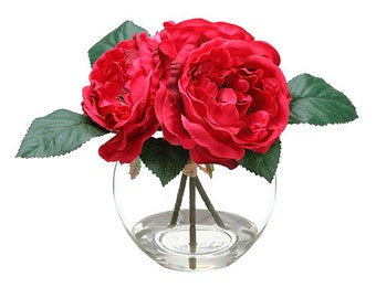 Silk Red Rose in Glass Vase Faux Artificial Flower Arrangement for Home Decor