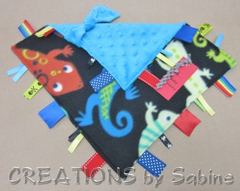 Baby Crinkle Sensory Toy, Tag Blanket Ribbon Lovie Blankie Lizards Chameleon Critters Boy Black Blue Red Yellow Rainbow READY TO SHIP (292)