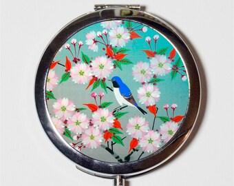 Bluebird Cherry Blossoms Compact Mirror - Bird on Tree Animal Art - Make Up Pocket Mirror for Cosmetics