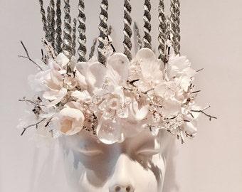 Diner en Blanc- White floral Crown- Floral Headdress- Ice Queen- White Headpiece- Frozen Headpiece -White Crown- Wedding Crown- Ice Crown
