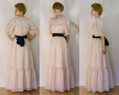 Vintage 1970s Ecru Cream Chiffon Maxi Gown - Victorian Edwardian Style - Bloomsday - Off White Wedding Dress (small medium)