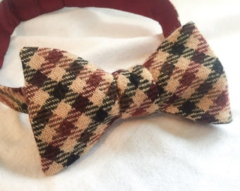 Men's Burgundy/Tan Plaid Wool Adjustable Bow Tie (Self Tie)