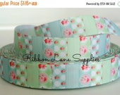 """Birthday Sale 7/8"""" Ribbon by the Yard Vintage Floral Aqua pink hot pink mint-shabby chic roses-Hair bows sewing crafts WHolesale by Ribbon L"""