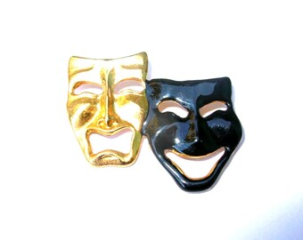 Thespian Brooch - Comedy and Tragedy Mask - Theater Pin - Vintage Jewelry