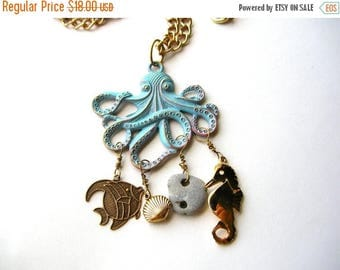 Octopus Charm Necklace - Octopus Statement Necklace - Ocean Necklace - Summer Necklace - Nautical Necklace