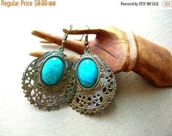 Bohemian Blue Earrings - Turquoise Glass Earrings - Boho Earrings