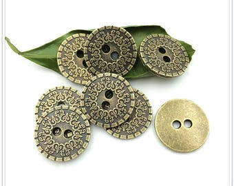 6 Pcs 0.89 Inches Retro Bronze Pattern 2 Holes Metal Shell Buttons For Coats Bags
