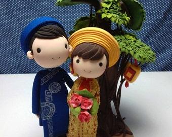 Ao Dai Vietnam traditional wedding costume wedding cake topper clay doll, banyan tree clay miniature and lantern, rings holder clay figurine