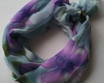 Echo Blue Violet Floral Silk Scarf