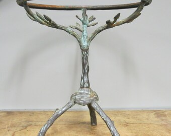 Hold for Helen Vintage Faux Bois Iron Table with Bird