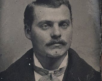Man with Mustache Antique Tiny Gem Tintype Photo