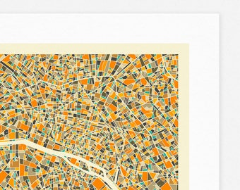 PARIS MAP (Giclée Fine Art Print, Photographic Print or Poster Print) by Jazzberry Blue