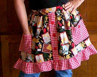 Chef's Choice Ruffled Retro Half Apron - Red and Black Italian Cooking Apron