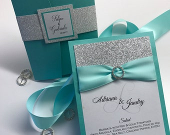 Aquamarine Menu - Turquoise and silver wedding menu - silver glitter and turquoise wedding menu - elegant wedding menu - modern menus