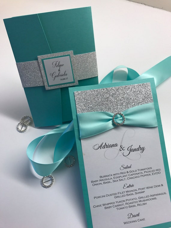 Teal Aquamarine Menu Turquoise And Silver Wedding